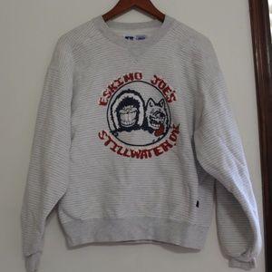 White / Gray Striped Eskimo Joe's Sweatshirt